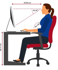 A lady working at the computer demonstrating proper posture